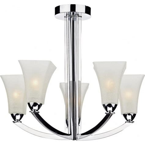 Deco Ceiling Lights Uk by Chrome Low Ceiling Light 5 Upward Facing Opal White Glass