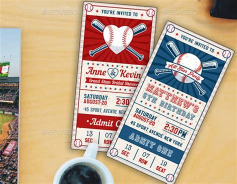 10 Baseball Party Invitations Baseball Ticket Invitation Template Free