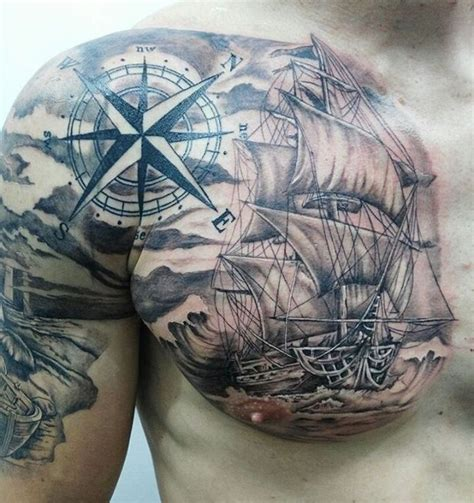 barco y rosa de los vientos