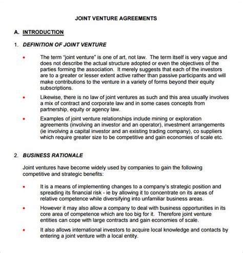 business letter joint venture sle joint venture 9 free documents in pdf word