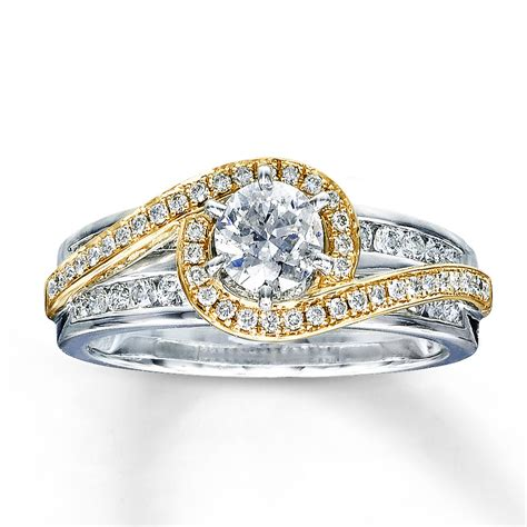 two tone engagement rings jared diamond engagement ring 7 8 ct tw round cut 14k