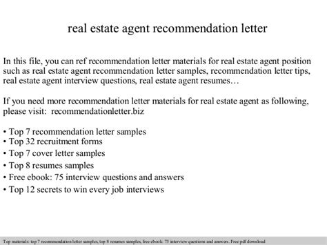Character Reference Letter Estate Real Estate Recommendation Letter