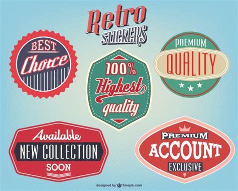 free design sticker online retro stickers design vector free download