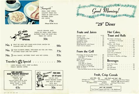 1950s dinner menu diner menus lost toronto