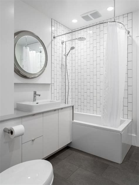 modern white tile bathroom vertical subway tile houzz