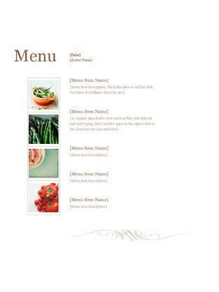 restaurant menu templates office com