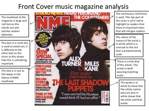 magazine cover layout analysis front cover music magazine analysis