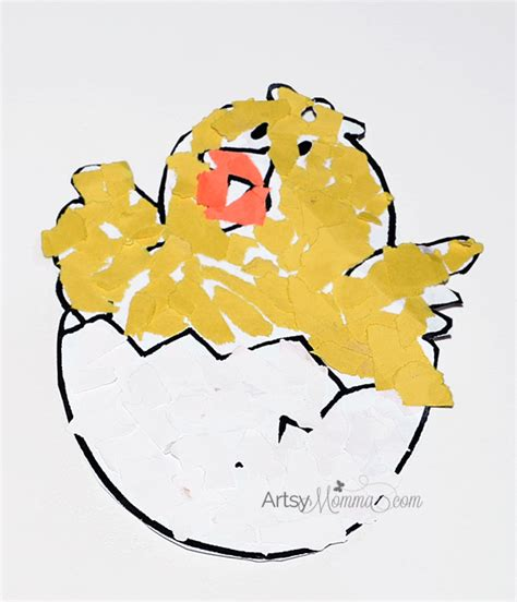 Paper Tearing Craft - torn paper craft hatching artsy momma