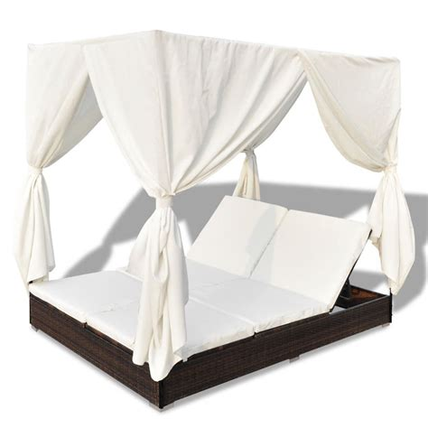 Sun Bed luxury outdoor brown rattan sun bed 2 persons with curtain vidaxl