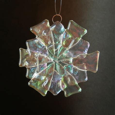 fleur iridized fused glass snowflake ornament suncatcher