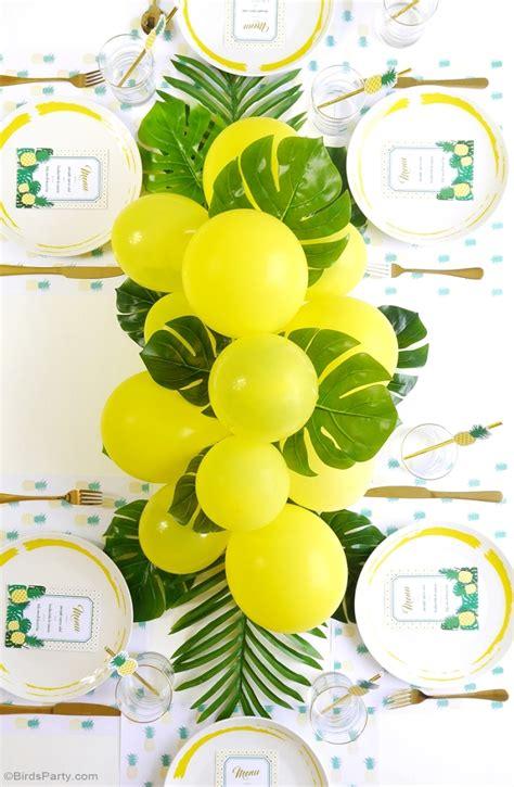Diy balloon amp fronds tropical party centerpiece party ideas party printables