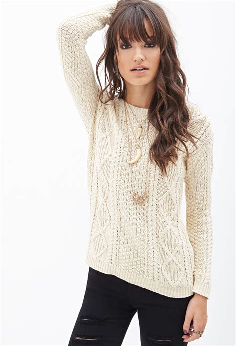 knitted sweaters forever 21 lyst forever 21 slouchy cable knit sweater in