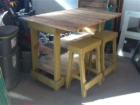 diy kitchen island table plans diy pallet kitchen island table with stools pallet furniture plans