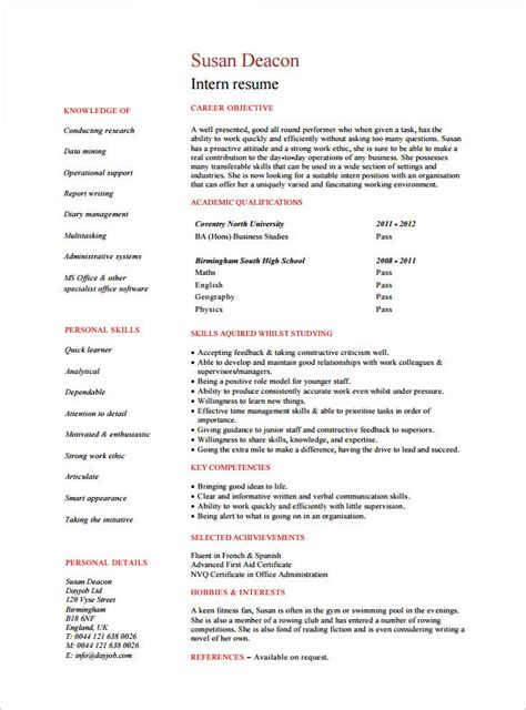intern resume template internship resume template 11 free sles exles