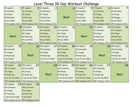 30 day workout challenge level 3 me stuff