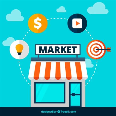 design online market market icons vector free download
