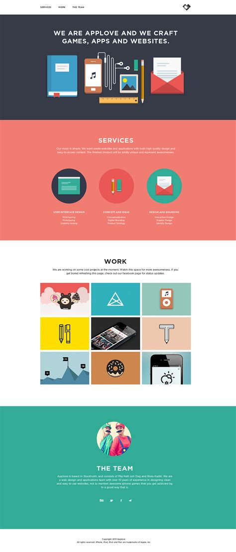 layout site app applove one page website award