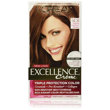 l oreal excellence creme permanent hair color medium coppery golden brown 8 43 1 74 oz pack l or 233 al excellence cr 233 me permanent hair color 5cb medium chestnut brown rich care