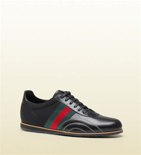 gucci shoes gucci lace up sneakers in black leather and black mesh