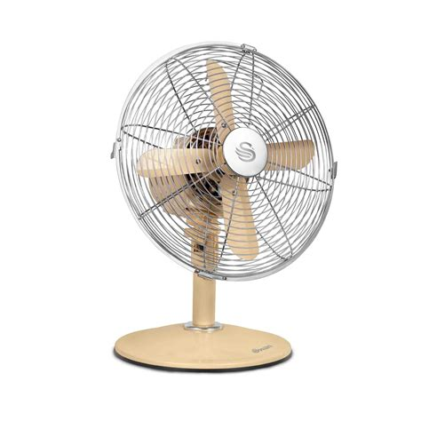 retro style desk fan swan vintage 12 inch oscillating desk fan cream sfa1010cn