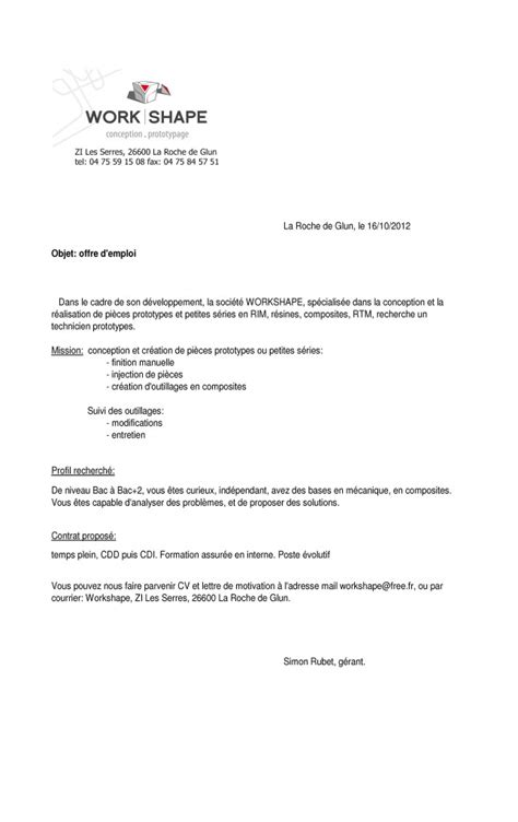 Exemple De Lettre De Motivation Offre Pole Emploi Pole Emploi Lettre De Motivation Lettre De Motivation 2017