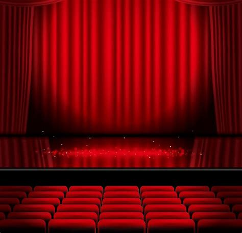 red curtain stage stage and red curtain vector background 05