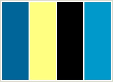 yellow and blue color scheme colorcombo86 with hex colors 006699 ffff81 000000 0099cc