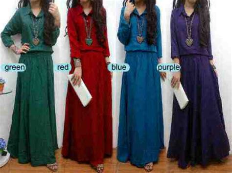 Baju Levis Kerah maxi dress casual formal belt model gamis muslim hijaber terbaru