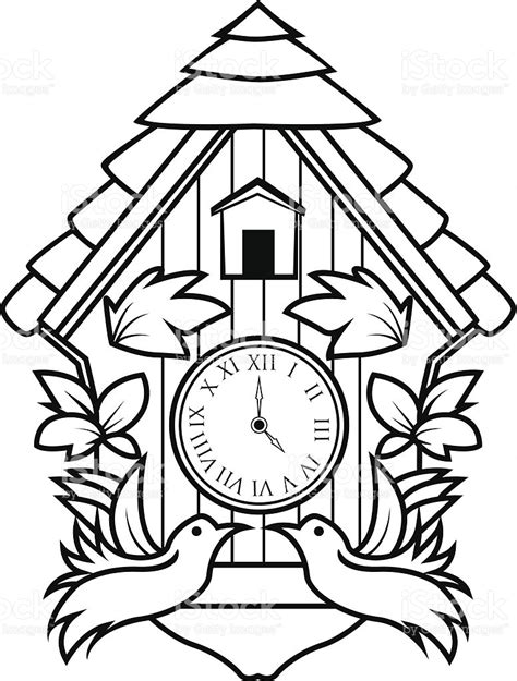 cuckoo clock coloring page www imgkid com the image