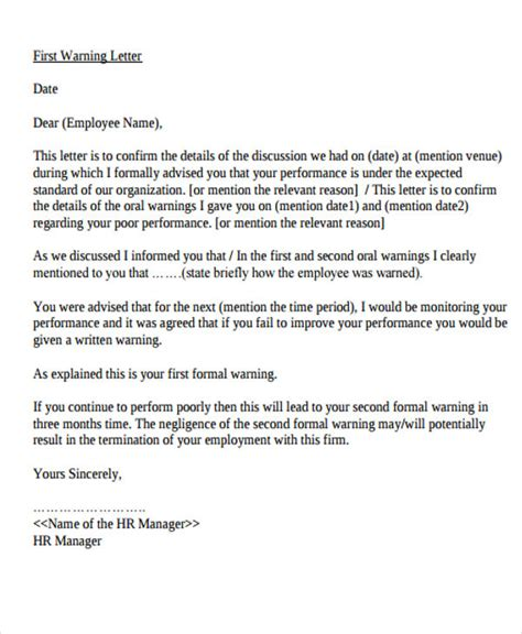 written warning letter template uk warning letter templates 7 free sles exles