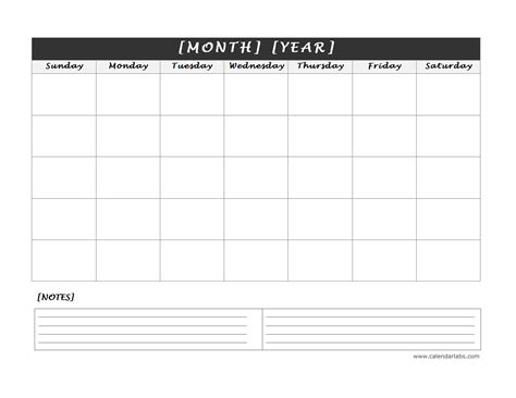 calendar template with notes monthly blank calendar with notes spaces free printable