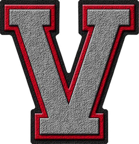 College With Letter V Presentation Alphabets Silver Varsity Letter V