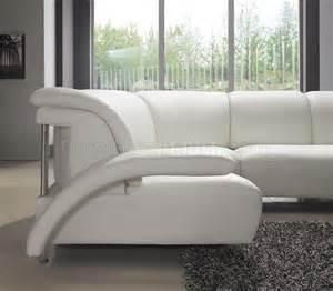 White Leather Sectional Sofa White Leather Modern U Shaped Sectional Sofa W Shelves