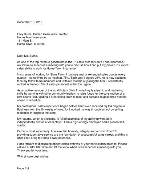 Insurance Agency Thank You Letter insurance cover letter