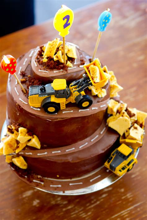 nephews  birthday cake diggers destruction cakes birthday cake digger cake