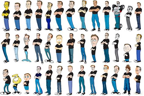 artist kevin mcshane draws himself in 100 different