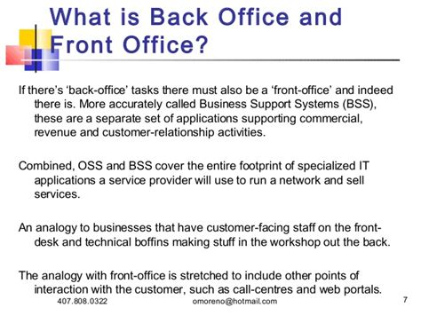 Back Office To Front Office Mba by Oss And Bss