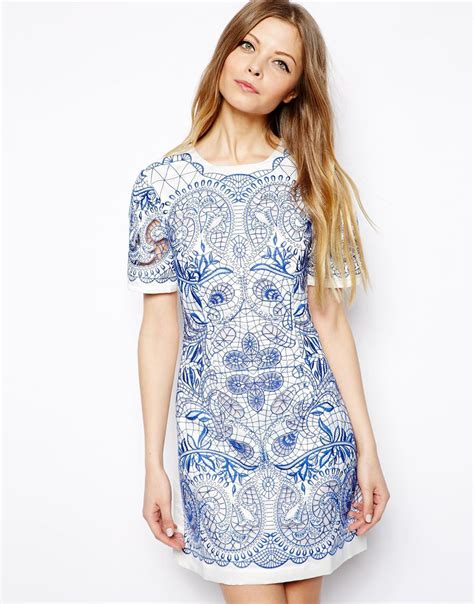 Embroidery Shirtdress lyst asos embroidered cutwork t shirt dress in blue
