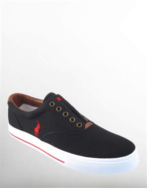 black polo sneakers polo ralph vito sneakers in black for lyst