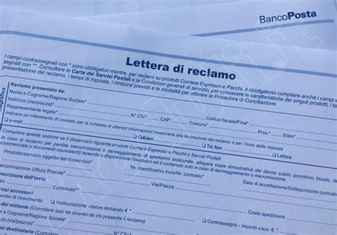 lettere reclamo modulo reclamo poste italiane