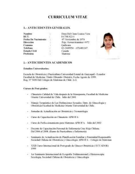 Modelo De Curriculum Vitae Para Chile Curriculum Vitae Curriculum Vitae Chile Formato