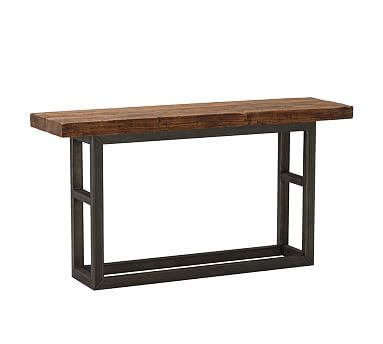 reclaimed wood and wrought iron sofa table coffee tables with iron legs pottery barn