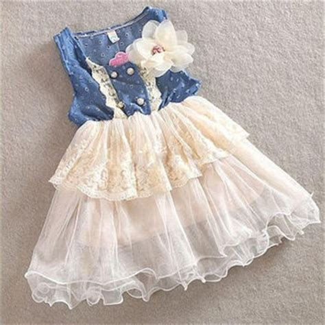 18465 White Flower Denim Skirt lace denim flower dress from cutevogue