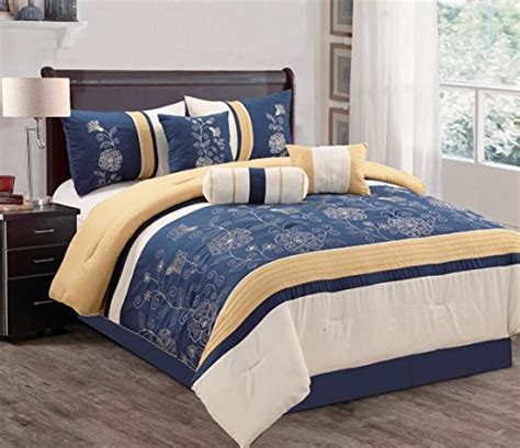 navy and gold bedding modern 7 piece bedding navy blue gold off white floral