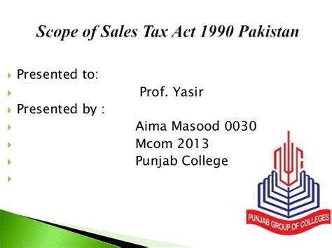 Mba Scope In Pakistan by Scope Of Sales Tax Act 1990 Of Pakistan