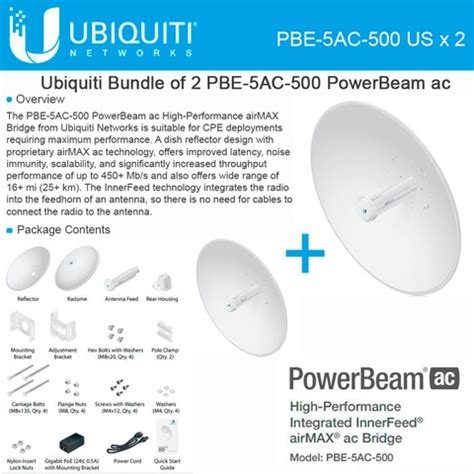 Ubiquity Powerbeam 5ac 500mm Pbe 5ac 500 Pbe 5ac 500 Pbe5ac500 ubiquiti powerbeam ac pbe 5ac 500 us 2 pack 5ghz 27dbi airmax bridge 25km