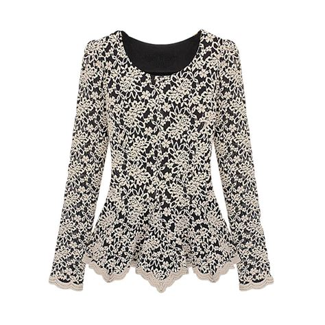 Two Tone Basic Peplum Best Seller aliexpress buy lace blouse sleeve peplum slim basic shirt tops blusa de