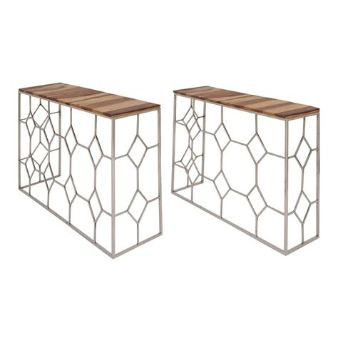 nesting console table set modern stainless steel and brown wood nesting console
