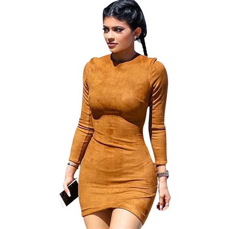 Fashion And Chocolate Womens Two by 2017 Sleeve Slim Dress Club Brown Vestido