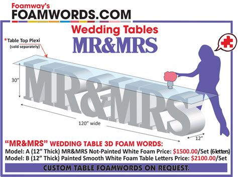 mr mrs table letters foamway usa